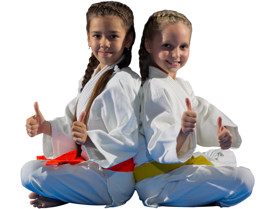 two karate students with thumbs up